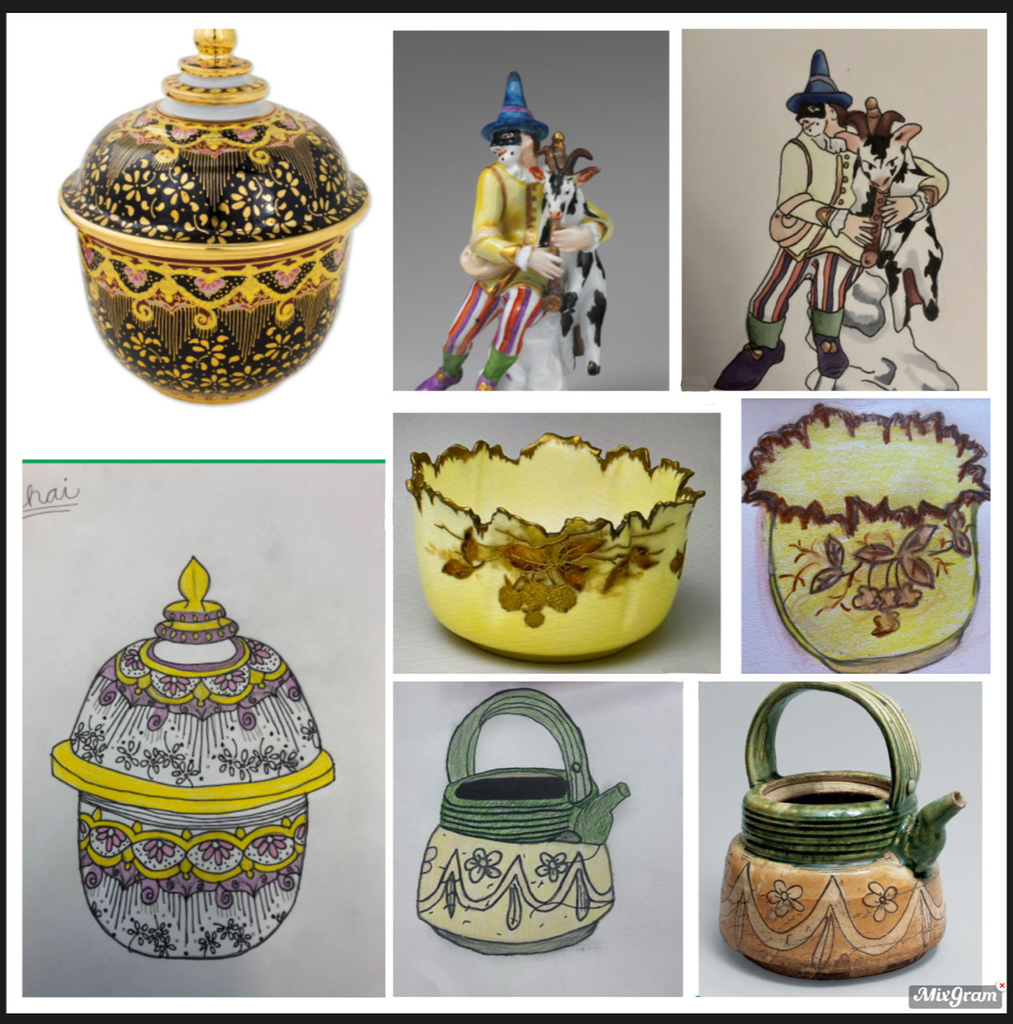 Sketches of ceramics from around the world.
