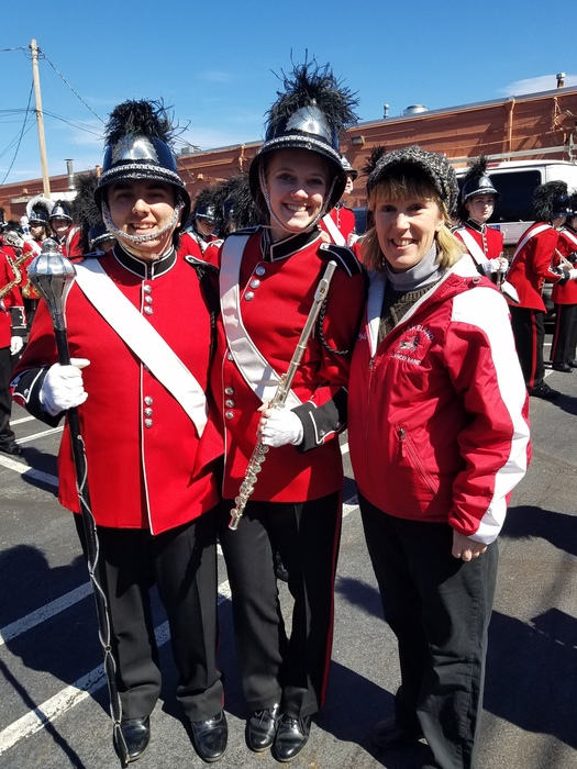 The Lakeland Band at the 2019 Ringwood St. Patrick's Day Parade - Conor G., Liz M. and Laurie K. (Band Director)