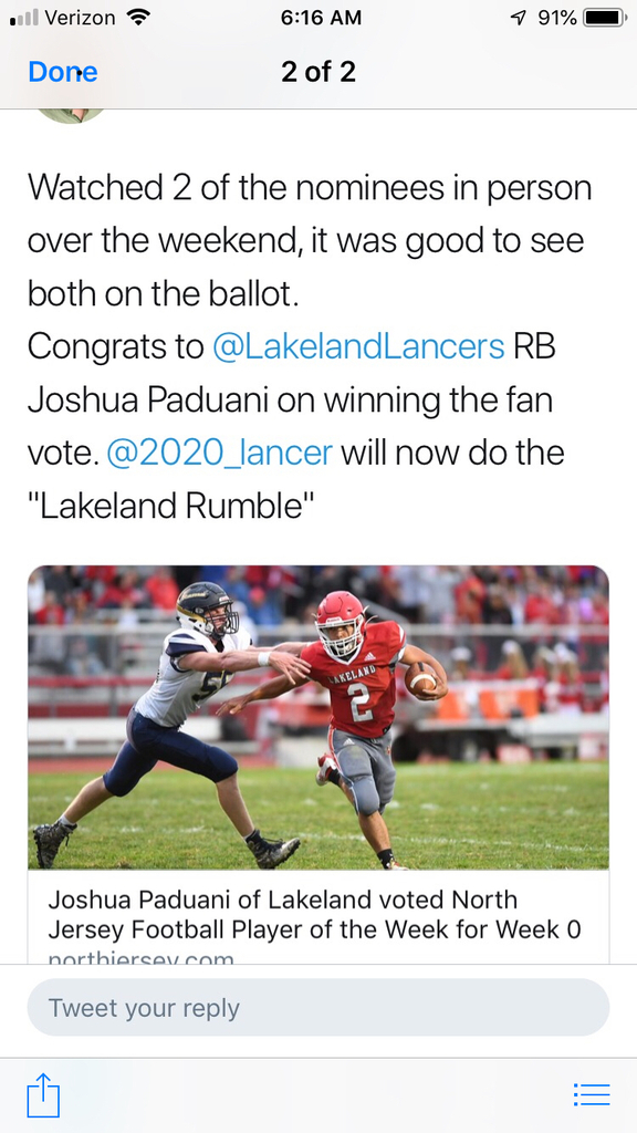 Congratulations to Josh Paduani for being named the 'NORTH JERSEY ATHLETE OF THE WEEK' & SPORT ZONE ATHLETE OF THE WEEK!  Great job Lancer Football!!! LANCER NATION