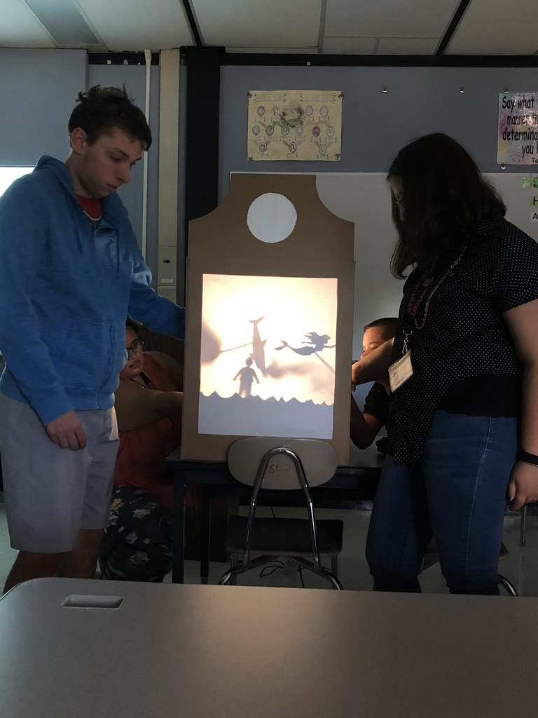 Ms. Gentile's Modified Theater class performing shadow box skits to start the day.