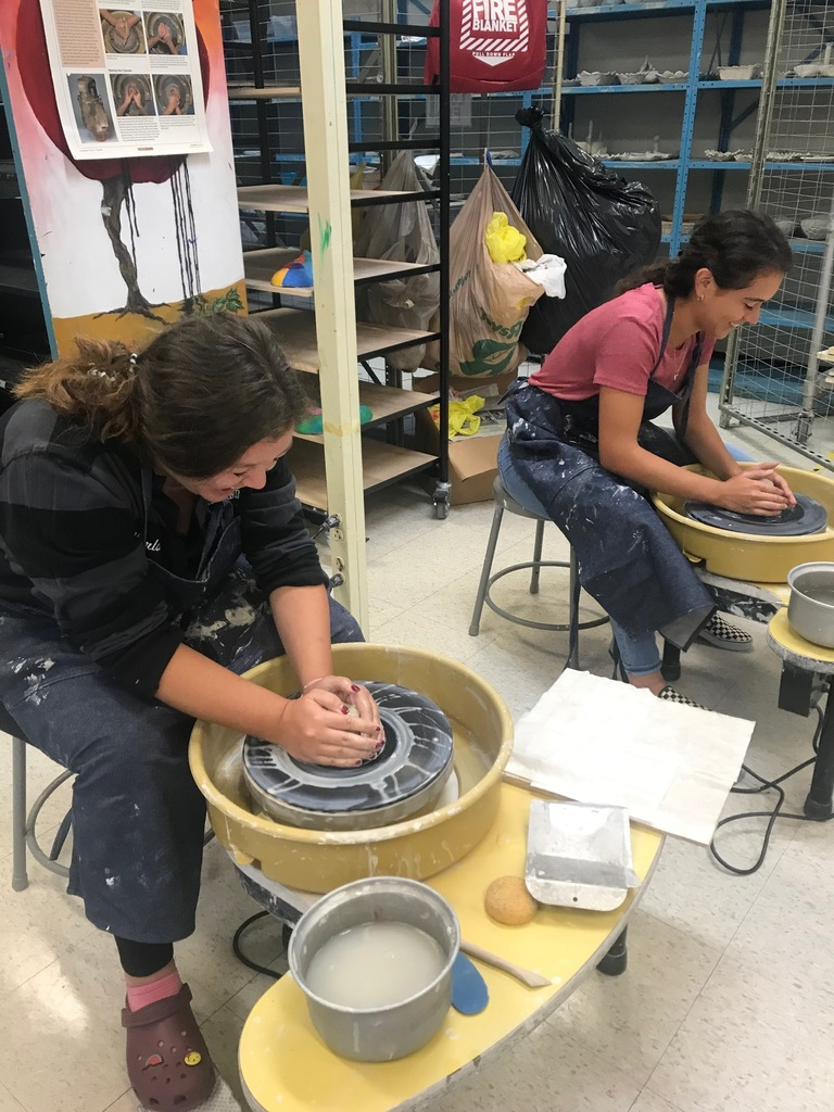 Ceramics 2 students making great things happen on the pottery wheel today!