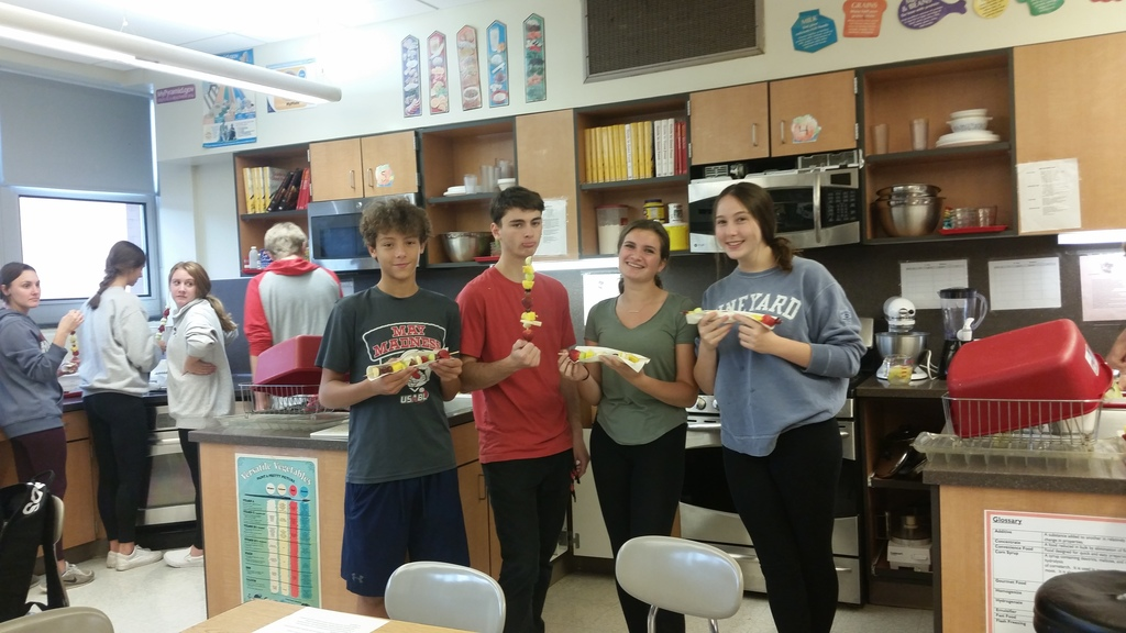 Foods & Nutrition class show off their fresh fruit kabobs