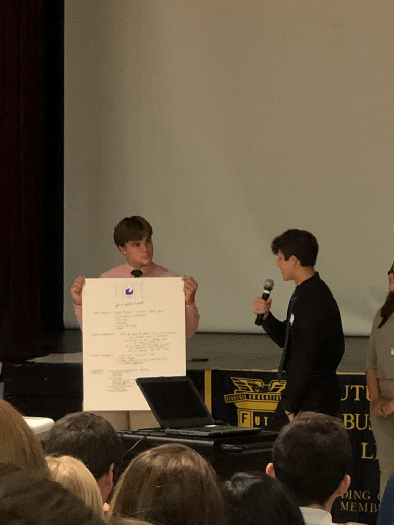 Senior Nick Gamarello helps his group to present their marketing concept to others attending the summit.
