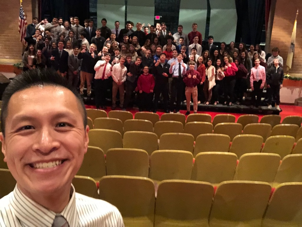 Lakeland FBLA Advisor Mr. Truong takes a selfie with his club members.