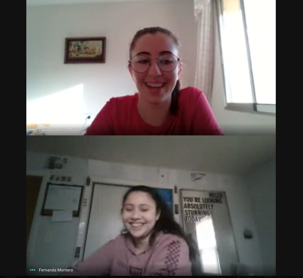 GoogleMeets with 2 of my favorite Art 2 girls. One of them joining from Spain!