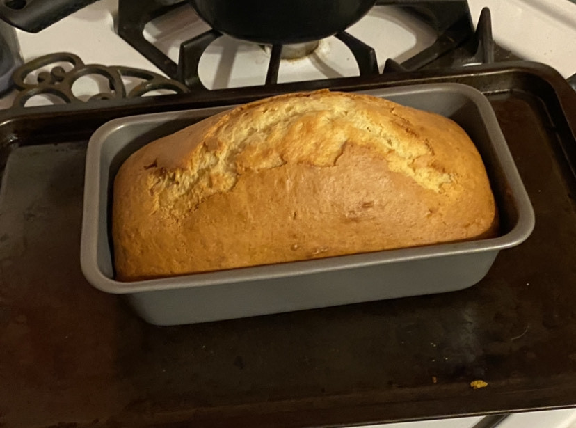 "Foods Class at home.  Nick Falcon's version of Banana bread has become a ""family favorite""!"
