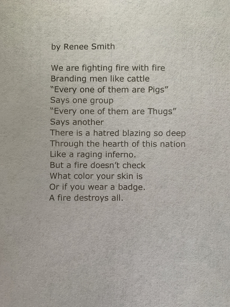 I asked my students to react to current events. Here is a thoughtful and profound poem by senior Renee Smith.  Congrats and good luck next year, Renee. Lakeland will miss you.